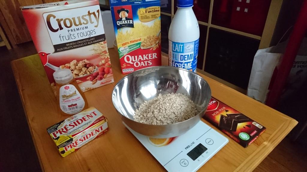 Mes barres de céréales maison - ingrédients